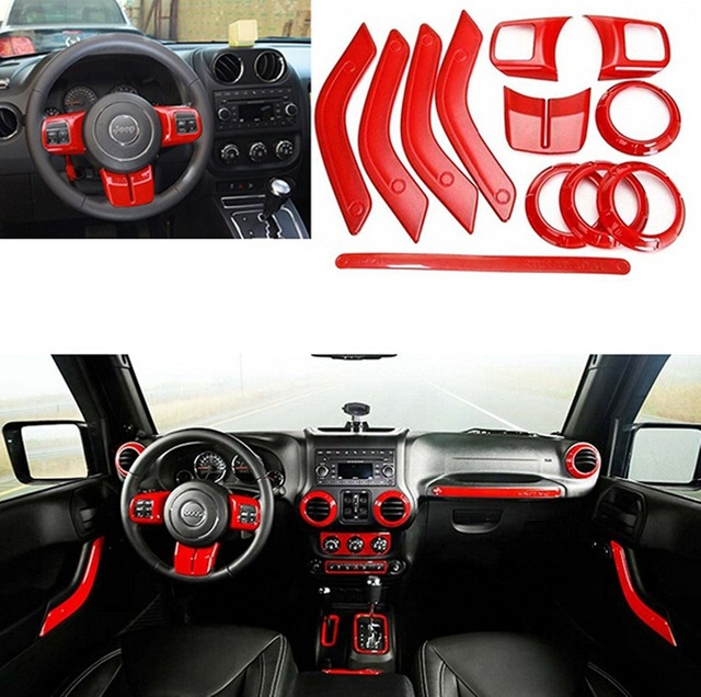12pcs For Jeep Wrangler Jk Accessories Interior Trim Door