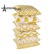Nordic Yellow Pillow Case Geometric Sofa Decorative Cushions Custom Cover Double Sided Living Room Cushion Throw Pillows