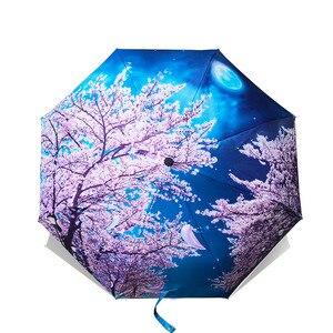 Image 2 - مثل المطر فان جوخ النفط اللوحة مظلة المطر النساء العلامة التجارية باراغواي الفنون الإبداعية المظلة الإناث الشمس والمطر المظلات YHS01