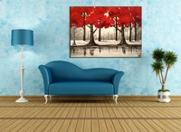 Top Artist Handmade Modern Abstract Red Leaves Tree Inverted Reflection in Water Fine Wall Artwork Knife Oil Painting on Canvas