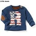 Little maven das crianças marca de roupas 2017 moda primavera meninos de algodão de manga longa o-pescoço letra r impressão camisa patchwork t ct009