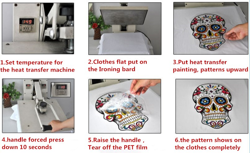 5pcs Fashion cool gun rose flower personality Sticker On Clothes Heat Transfer Clothing Deco New Diy Accessory Badges Applique