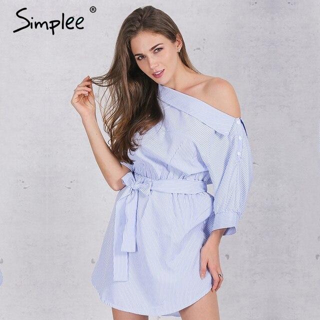 Simplee Мода одно плечо полосатый dress shirt Sexy стороне разделить пляж dress женщины Элегантный половина рукава пояс ПР девушки dress