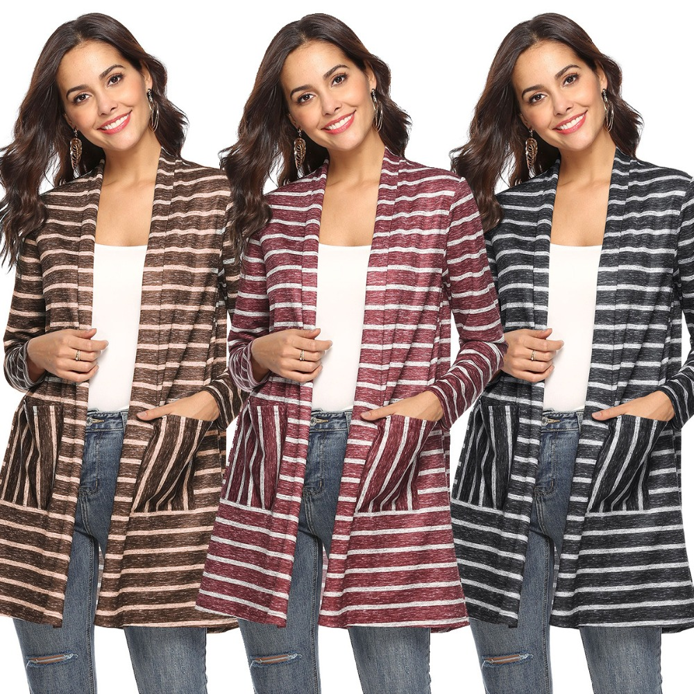 Coat Jacket Cardigan Loose Fashion Women's Casual New Striped Shawl Stitching Popular