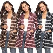 New popular stitching shawl womens jacket pocket casual fashion personality loose striped cardigan coat