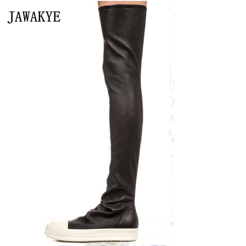 2017 Sexy Black Stretch Over The Knee Boots Woman Round Toe White Thick Bottom Flat Long Boots For Women