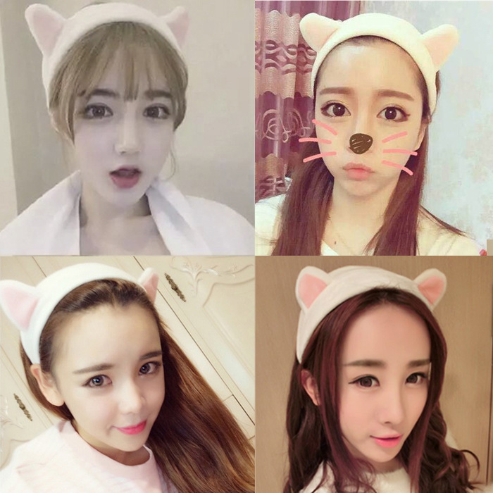 Super of cat ear hair with hair band head ornaments headdress Wash a face makeup headband a cat a hat and a piece of string