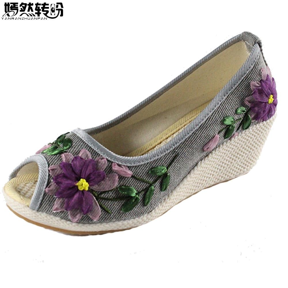 Vintage Women Pumps Floral Embroidery Linen Shoes Retro Cloth Canvas Peep Toe Dance Wedges Heel Single Sandals