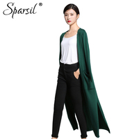 Sparsil Women Autumn Wool Long Cardigans Solid Knitted Side Silt Cardigan Pockets Long Sleeve Sweaters Loose
