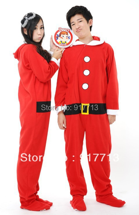 035db2403a01 New Fleece Cotton Adult Unisex Christma Santa Claus Footed Pajamas  Sleepsuit All in one Cosplay Pyjamas Onesie