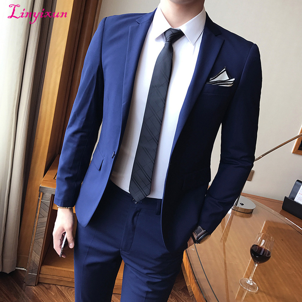 Linyixun Men's Dress 2017 Male Suits New Arrival Fashion Full Casual Slim Fit Business Party And Wedding Suit M Blazers Sets