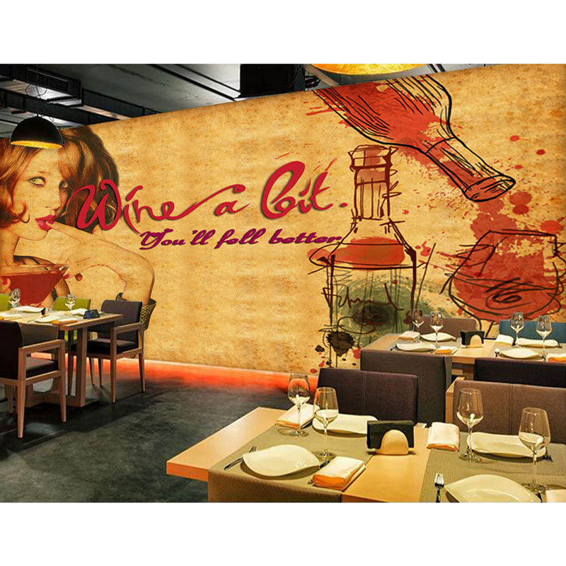 Us 1549 49 Offvintage Bar Cafe Decor Wall Papers Custom Wine Poster Photo Wallpaper Mural Carta Da Parati Self Adhesive Vinyl Silk Wallpaper In