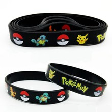 Hot Black Cartoon Pokemon Pikachu Silicone Bracelet Kids Birthday Party Wedding Decoration Favor Gift Exquisite cheap affordable(China)