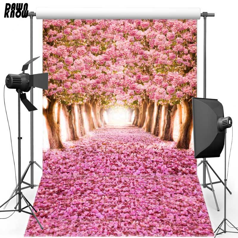 DAWNKNOW Floral Tree For Wedding Vinyl Photography Backdrops Pink Flower Polyester Backgrounds For Children Photo Studio F1074 in Background from Consumer Electronics