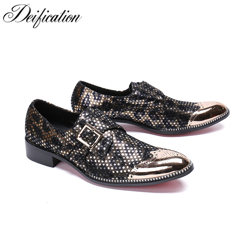 Italian Leather Mens Dress Shoes Bling Sequin Studded Men Loafers Metal Round Toe Mocassin Homme Luxury Male Formal Party Shoes