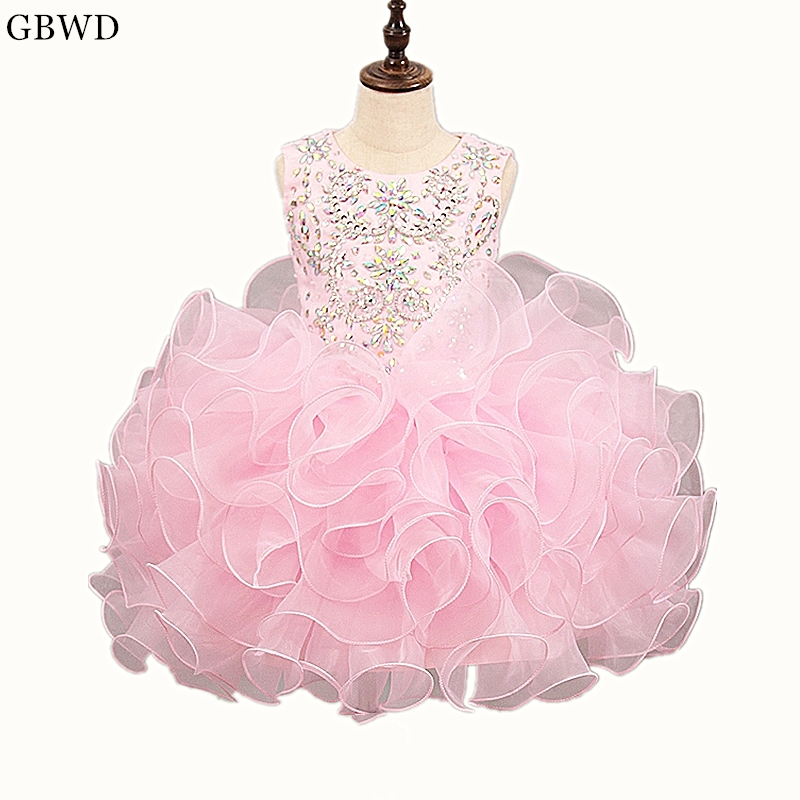 Flower Girl Dresses Weddings & Events Helpful Adln Sky Blue First Communion Dresses With Beads Mini Baby Cupcake Dress Princess Pageant Dresses For Girls Glitz