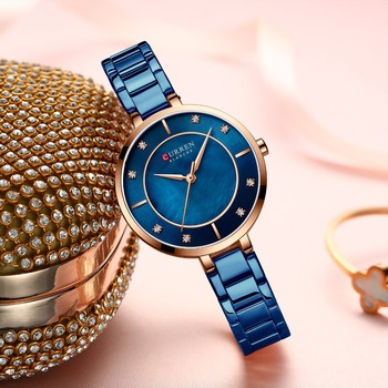 New Watches Women CURREN Fashion Luxury Rhinestone Dial Quartz Clock Waterproof Stainless Steel Band Wristwatch for Ladies - discount item  55% OFF Women's Watches