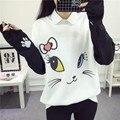 2017 nuevas mujeres de lana con capucha de dibujos animados de moda cat sudaderas casual impreso color mezclado harajuku sudaderas chándales femenina