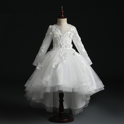 Elegant White Lace Flower Girl Dress Party Pageant Gown Appliques Princess Wedding Dress Long Sleeve First Communion Dresses