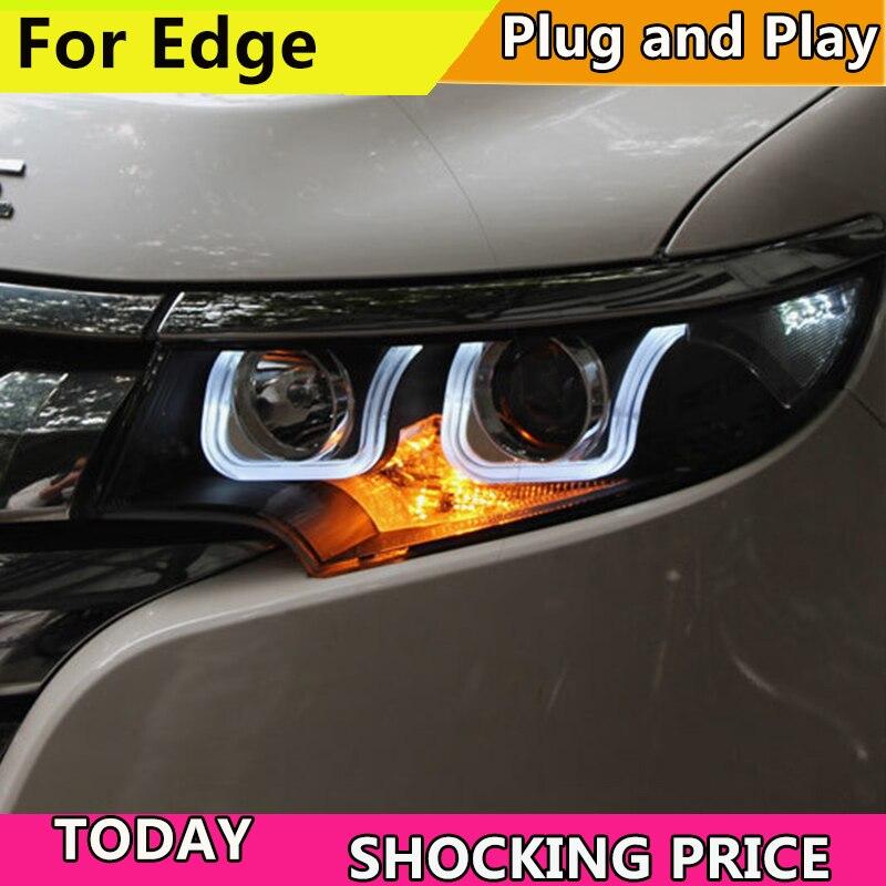 Car Styling for Edge Headlights 2010 2012 2014 New Edge LED Headlight DRL Bi Xenon Lens