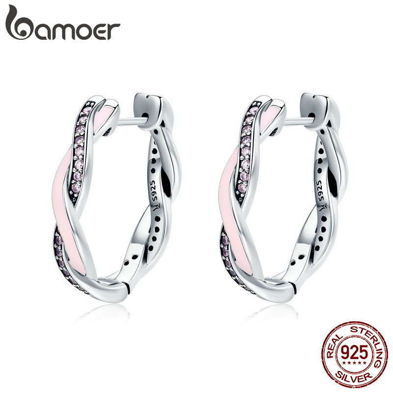 BAMOER Authentic 100% 925 Sterling Silver Pink & Clear CZ Twist Of Fate Hoop Earrings for Women Fashion Earrings Jewelry SCE297 colorful cubic zirconia hoop earring fashion jewelry for women multi color stone aaa cz circle hoop earrings for party jewelry