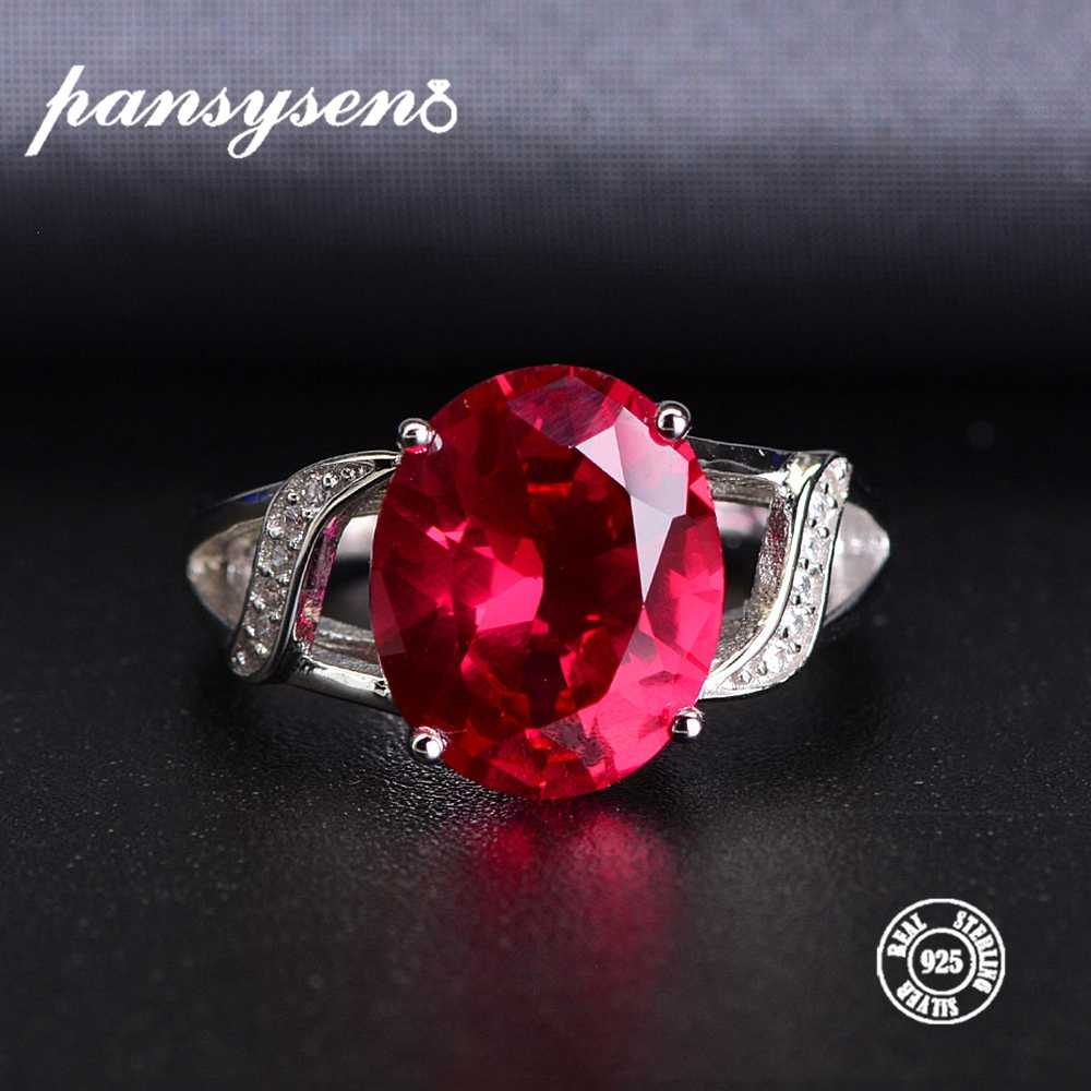 PANSYSEN Genuine 925 Sterling Silver Natural Ruby Open Finger Rings For Women Luxury Gemstone Silver Jewelry Ring Wholesale Gift