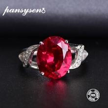 PANSYSEN Genuine 925 Sterling Silver Natural Ruby Open Finger Rings For Women Luxury Gemstone Silver Jewelry Ring Wholesale Gift 100% genuine 925 sterling silver retro men male ring thai silver fine jewelry gift snake cross heavy finger ring ch057436