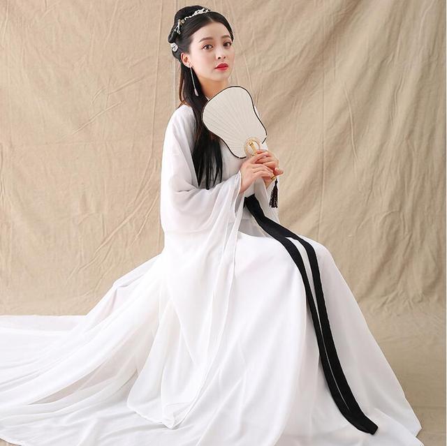 f70762f4196e9 Oriental Girl White Costume Ancient China Fairy Hanfu Dress East Asian  Style Fresh Elegant Sword Lady
