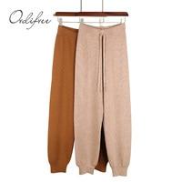 Ordifree 2018 Autumn Casual Harem Pants Stretch Knitted Pants Trousers Jogger Sweatpants Knitting High Waist Women Winter Pants