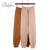 Ordifree 2019 Autumn Casual Harem Pants Stretch Knitted Pants Trousers Jogger Sweatpants Knitting High Waist Women Winter Pants