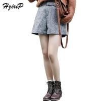 HziriP Preppy Stijl Hoge Taille Elastische Taille Katoenen Shorts Voor Vrouwen Herfst Winter Casual Dubbele Zakken Wollen Korte Feminino