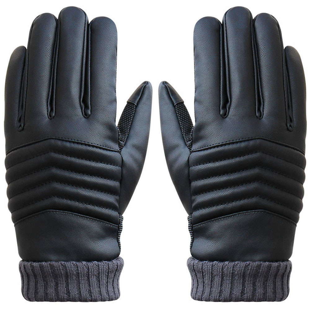 2017 New Style Anti Slip Men Thermal Winter Sports Leather Gloves mens leather driving gloves luva motociclistadrop shopping
