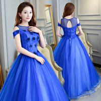 2019 New Ball Gown Prom Dress Long Appliques Tulle Blue Dress for Graduation Quinceanera Vestidos De 15 Anos Debutante