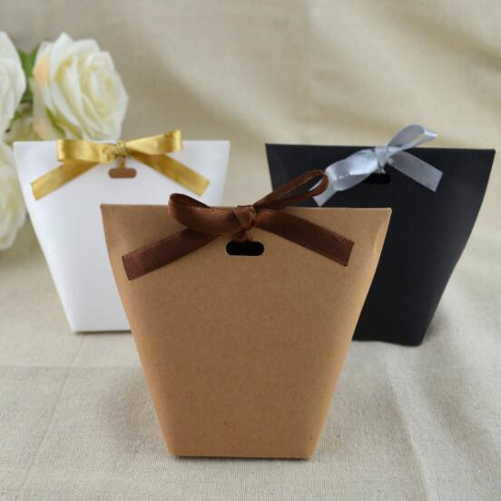 100 Pcs Black white brown Wedding Favors Candy Boxes Bomboniera Sachet Party Gift Box Paper Candy