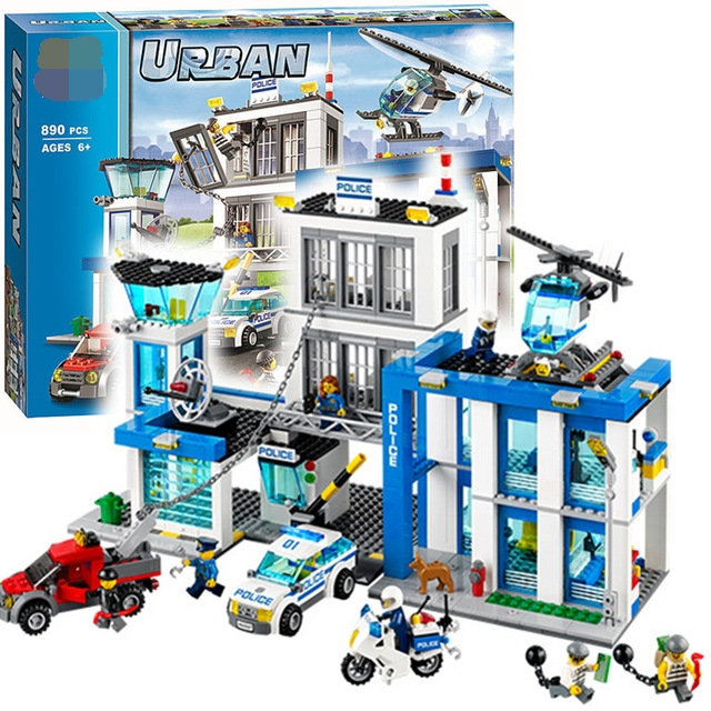 City Police Station motorbike helicopter Model building blocks bricks compatible with lego city 60047 Educational toys best gift 442pcs police station building blocks bricks educational helicopter toys compatible with legoe city birthday gift toy brinquedos