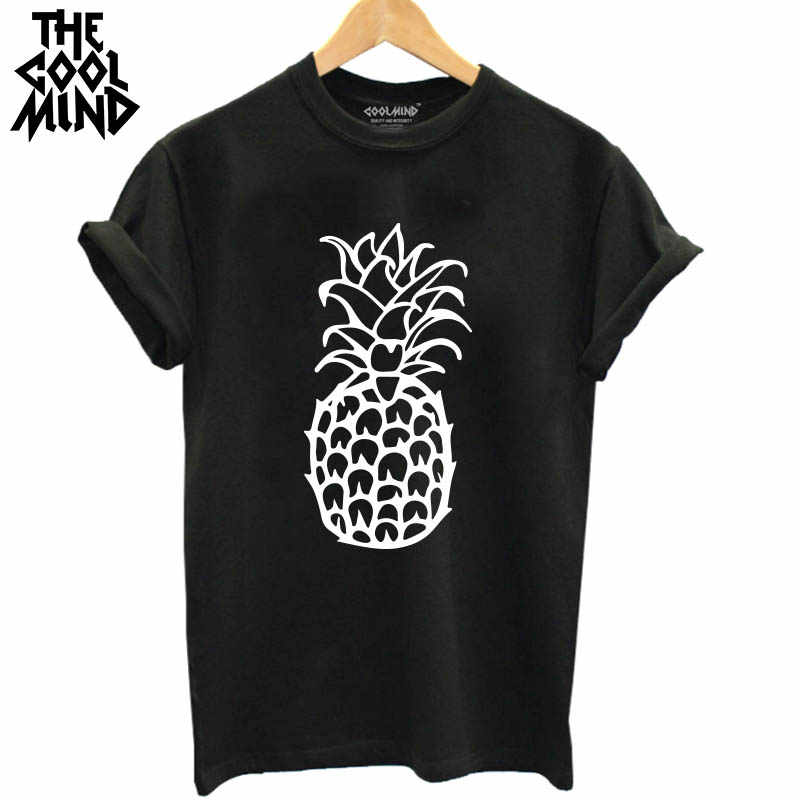 THE COOLMIND Top Quality Loose  100% Cotton Short Sleeve Pineapple Printed Women T Shirt Casual O-Neck Summer Knitted Tees Shirt