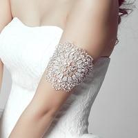 Fashion Clear Crystal Flower Bridal Arm Chain Jewelry Wedding Arm Bracelet Hand Jewelry