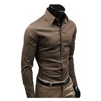 2015 Men Shirt British Style Long Sleeve Male Slim Casual Shirts Men S Business Shirt White