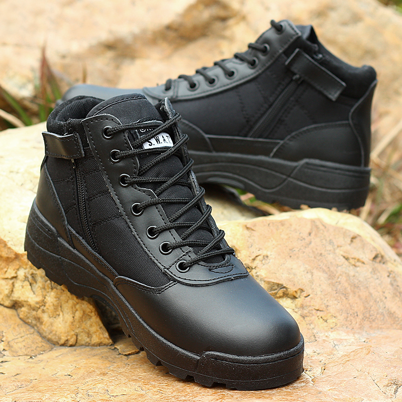 2017 light Genuine leather military with side zipper men boots combat men asker bot Infantry tactical
