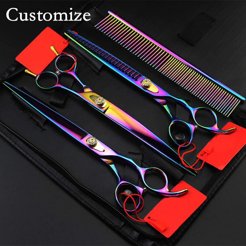 Customize japan steel 4 kit Pet grooming 8 inch shears dog grooming hair scissors thinning cutting barber hairdressing scissors 4 kit professional 8 inch pink pet grooming shears cutting hair scissors case dog grooming thinning barber hairdressing scissors