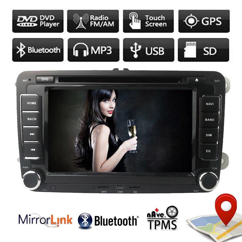 Lecteur multimédia DVD de voiture Quad Core 7 pouces 2 Din pour VW Volkswagen Golf Polo Tiguan Touran Passat voiture GPS Autoradio de Navigation