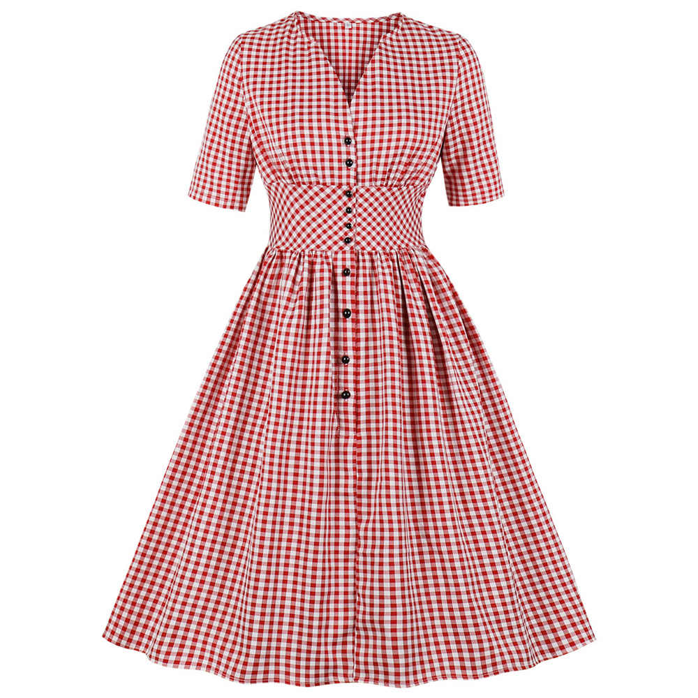 Joineles женское вечернее платье в клетку с коротким рукавом, винтажное платье на пуговицах, летнее женское платье халат, плюс размер 4XL Vestidos Red