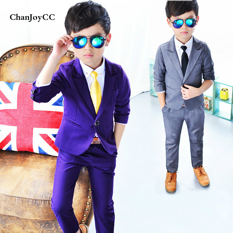 2017Spring Autumn new fashion children's suit set boys solid casual coat+ pant two pieces suit 2017 new autumn