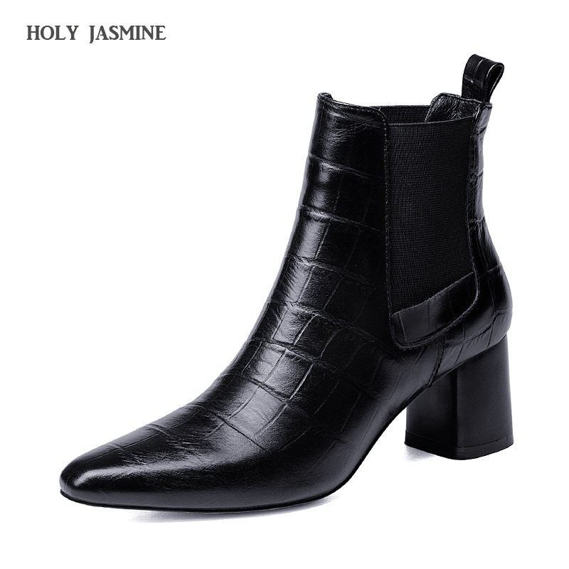 2018 Autumn new style genuine leather ankle boots pointed toe thick heel chelsea boots calf leather women boots ladies shoes 2018 autumn new style genuine leather ankle boots pointed toe thick heel chelsea boots calf leather women boots ladies shoes