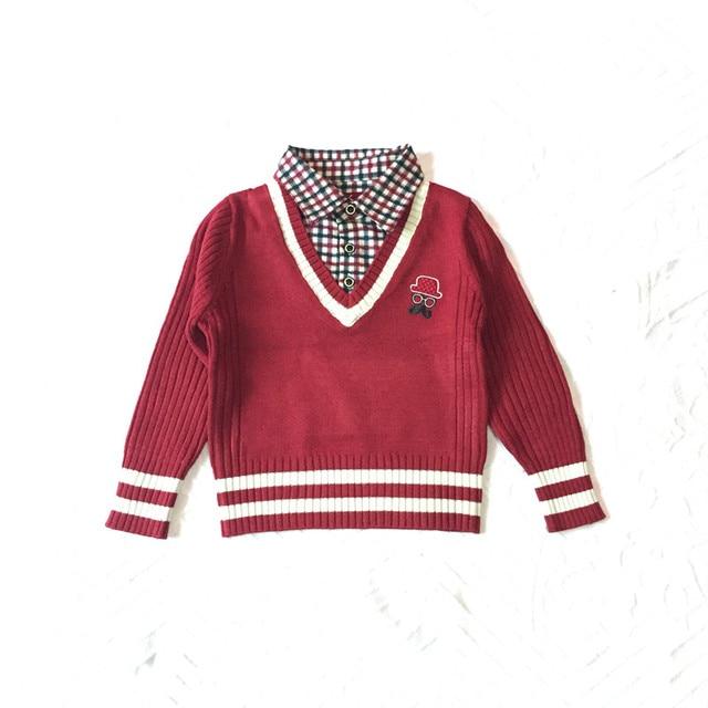 542b39a6c autumn kids boy children sweater baby boys plaid shirts collar ...