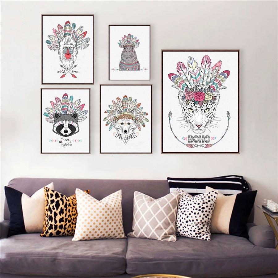 Dyrfjær-plakat Kunsttrykk, håndtegnet aztekisk stil Dyrillustrasjon - Hjemmedekorasjon