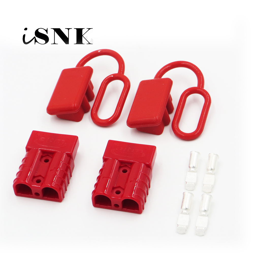 10 Kits 50 Amp Red Battery Power Connectors 12-10AWG