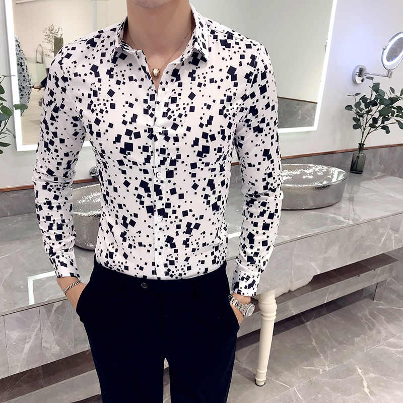 Новая Ультрамодная рубашка мужская клетчатая Повседневная рубашка с длинными рукавами Мужская черная белая блузка Мужская платье-стретч смокинг приталенная рубашка мужская