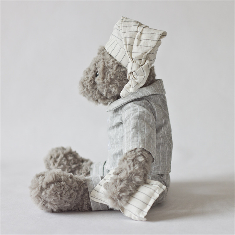 Plush toy grey bear wear gery shirt handsome bear stuffed toys new design high quality size sit 21cm total 34cm in Stuffed Plush Animals from Toys Hobbies