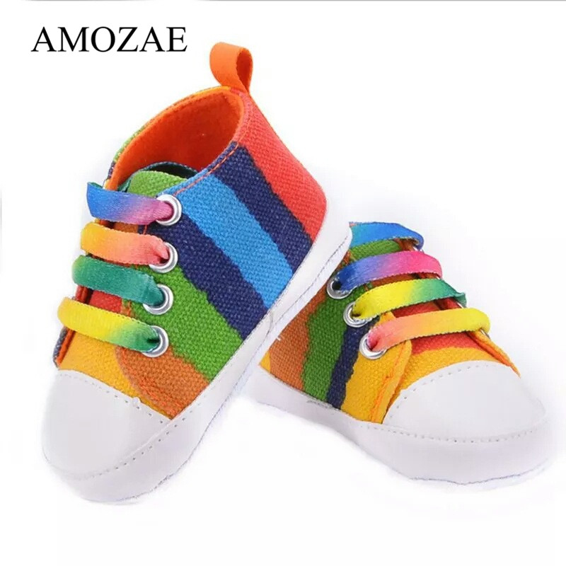 Colorful Striped Plaid Canvas Toddler Baby Shoes Girls Boys First Walkers Baby Sneakers Newborn Baby Moccasins Indoor Shoes